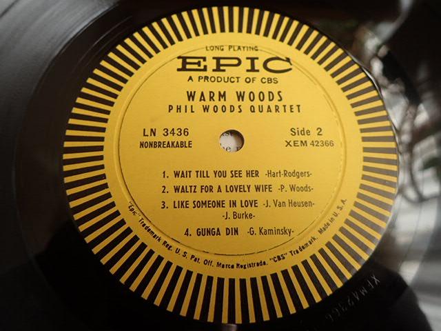 良盤: US Epic mono dg WARM WOODS / THE PHIL WOODS QUARTET_画像5