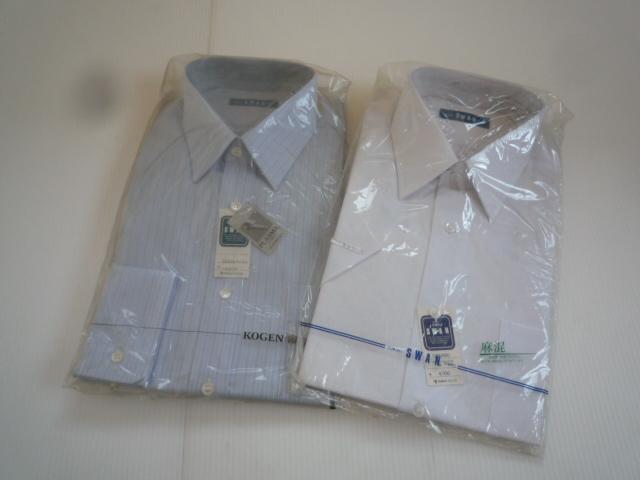 【お得!!】◆ワイシャツ2点セット◆ SWAN 青系 白 A形38 セット品 メンズ_画像1