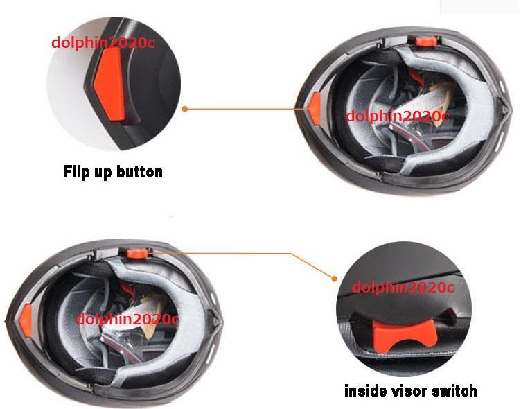 フリップアップ バイク ダブルレンズ フルフェイスヘルメット ダブルシールド ジェットヘルメット 内蔵サングラス M L XL XXL サイズ 03_画像3