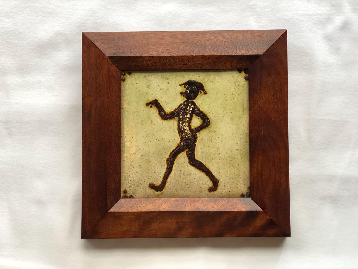 「船木研児」スリップウェア 河童図陶板 額装 26.2×26.2cm バーナード・リーチ 浜田庄司 送料無料!当方最後の一品