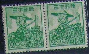 昔懐かしい切手 2種3枚組 産業図案切手・農婦2円連 1948.11.20発行 + 広島平和記念都市建設 バラを持つ女性 1949.8.6.発行b