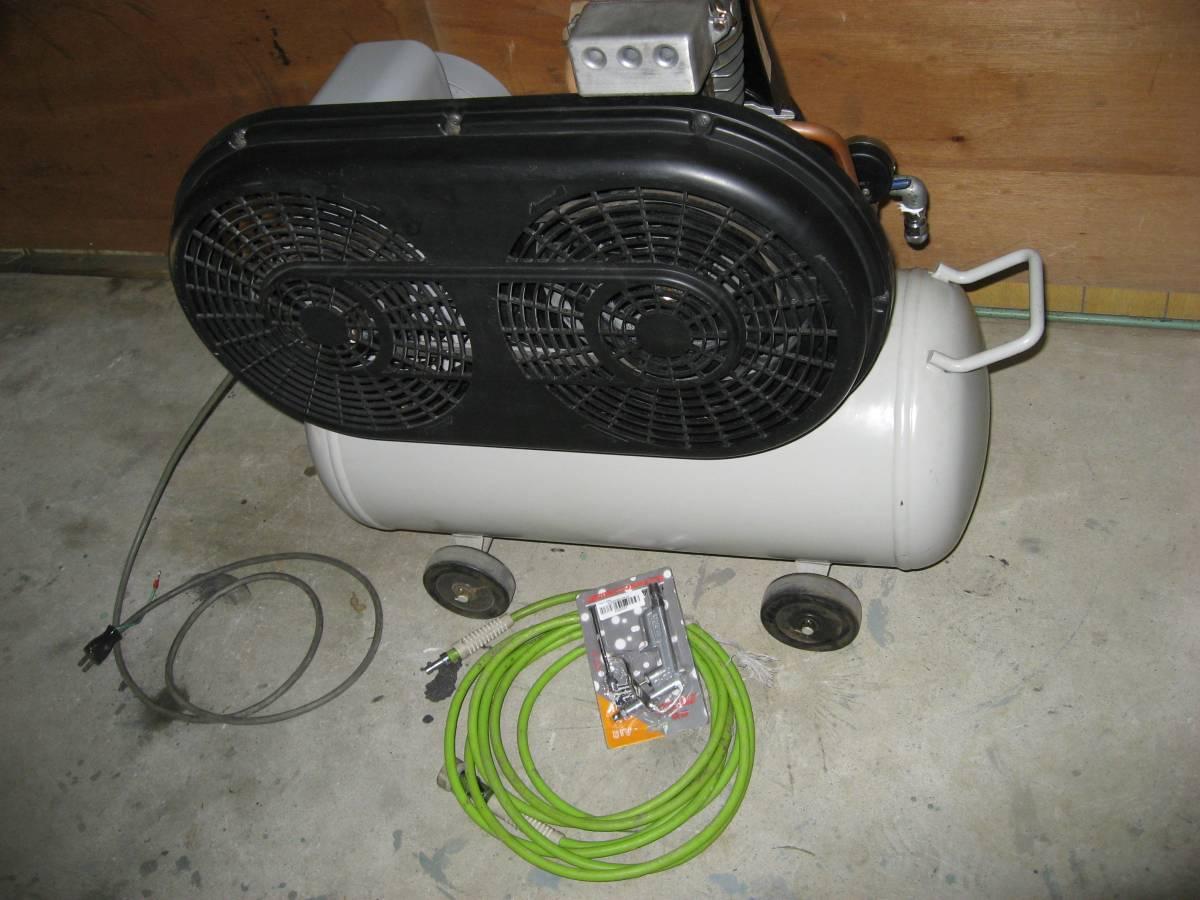個人売IWATAイワタ100v0,75kw中古オイル式で快音静か圧力スイッチ動作エアー漏れ運転音等良好ホースキットエアーガン付属即全国可綺麗_画像3