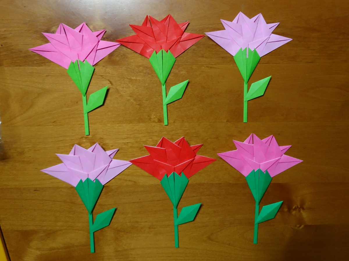 【ハンドメイド 折り紙】☆カーネーション花、茎、葉のセット 6個☆① 母の日 壁面飾りに…