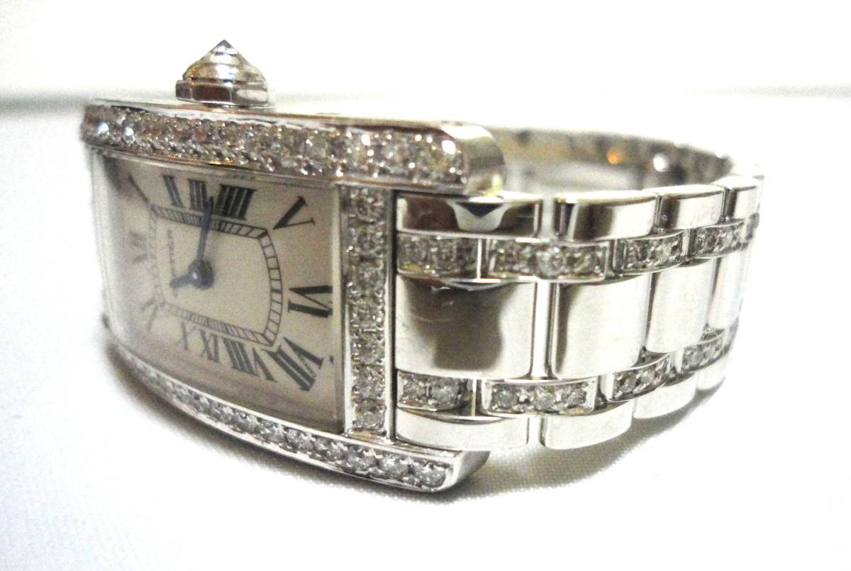Cartier カルティエ WG タンクアメリカンMM ベゼル アフターダイヤ加工します カスタム WB7045MP W1506056 K18YG WB520027 K18 WB520010_画像3