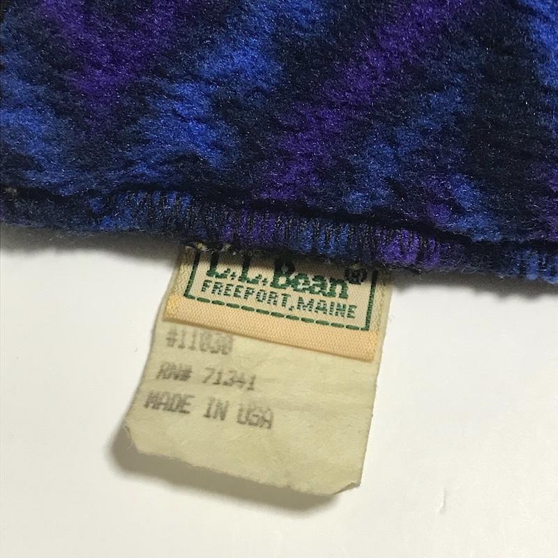 90s USA製 L.L.Bean 総柄 フリース素材 耳当て イヤーマフ 珍品 レア(検)トートバッグ 筆記体 ヴィンテージ 80s 米国 アメリカ 紫色 70s_USA製