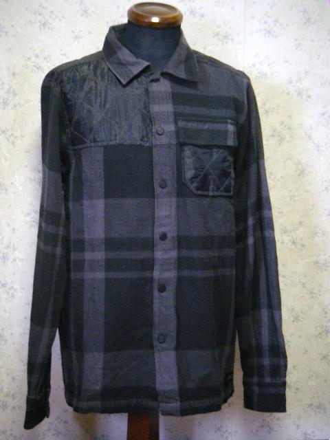 NIXON ニクソン チェック柄 切替シャツジャケット ブラック×グレー M