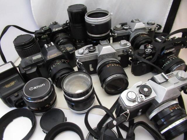 908☆キャノン ジャンクセット AE-1 PROGRAM 50mm 1.4/135mm 3.5/T70 24mm 2.8/200mm 1:4/FD 24mm 2.8/FL 58mm 1.2/FX/AV-1 50mm