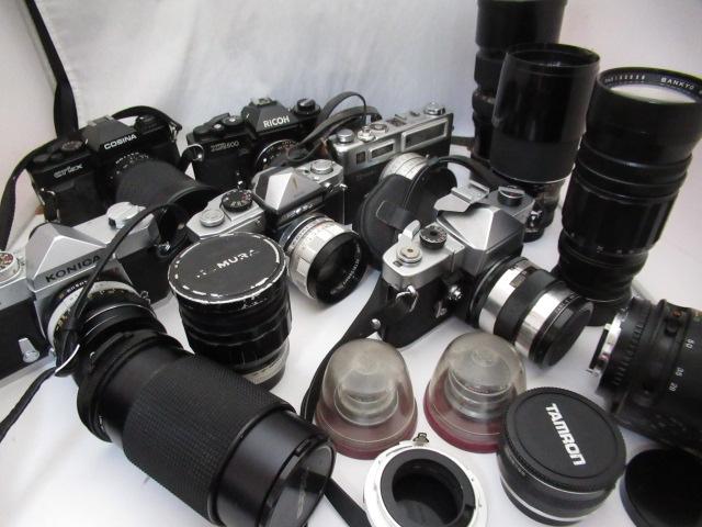 943☆カメラ/レンズ ジャンクセット トキナー 80-200/コムラ 100mm/Soligor 200mm 3.5/RICOH XR500/FUJINAR-E 5cm 1:4.5/ヤシカ ELECTRO 35