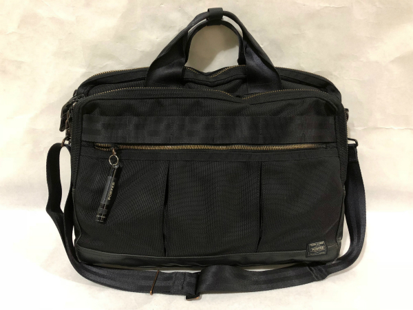 PORTERブラックメンズ2wayショルダー付ビジネス書類バッグ仕事鞄