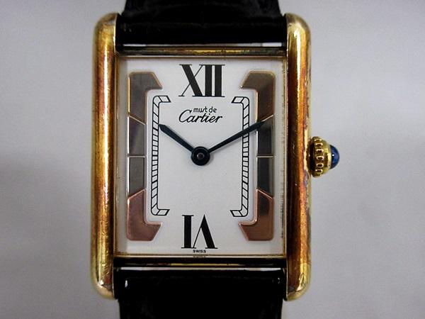 16/52-11 カルティエ Cartier シルバー 925 MUST TANK VERMEIL マストタンク ヴェルメイユ 腕時計 レディース クォーツ