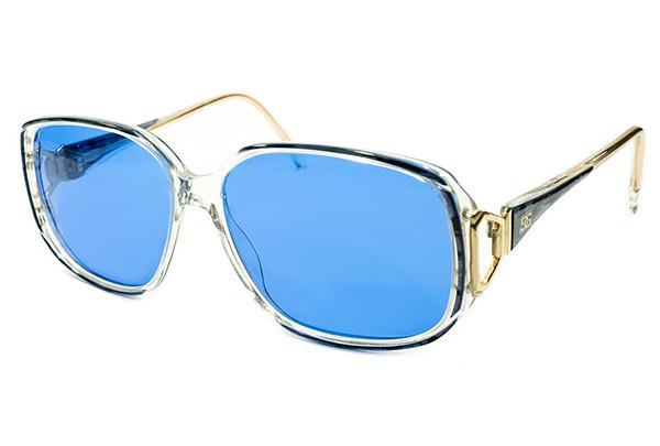 英国老舗解釈OLD SCHOOL 1970s-1980sENGLAND製オリバーゴールドスミスOLIVER GOLDSMITH日本製インディゴBLUEレンズ入サングラス眼鏡A4412_画像1