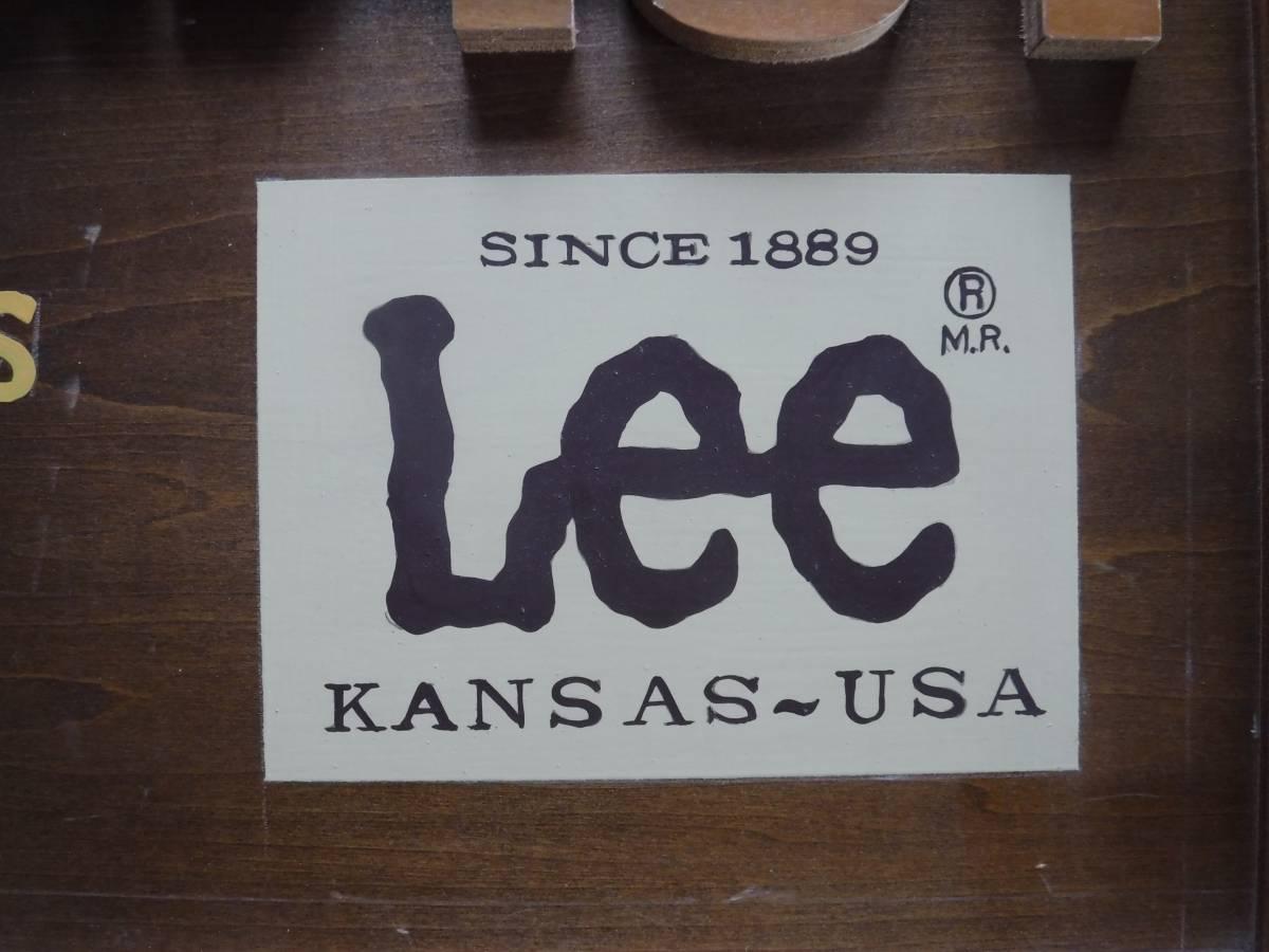 ◆激レア リー 木製看板 ディスプレイ Lee 販促用店舗什器 横幅90cm×高さ33.5cm×厚み1.8cm(素人採寸) 非売品_画像9