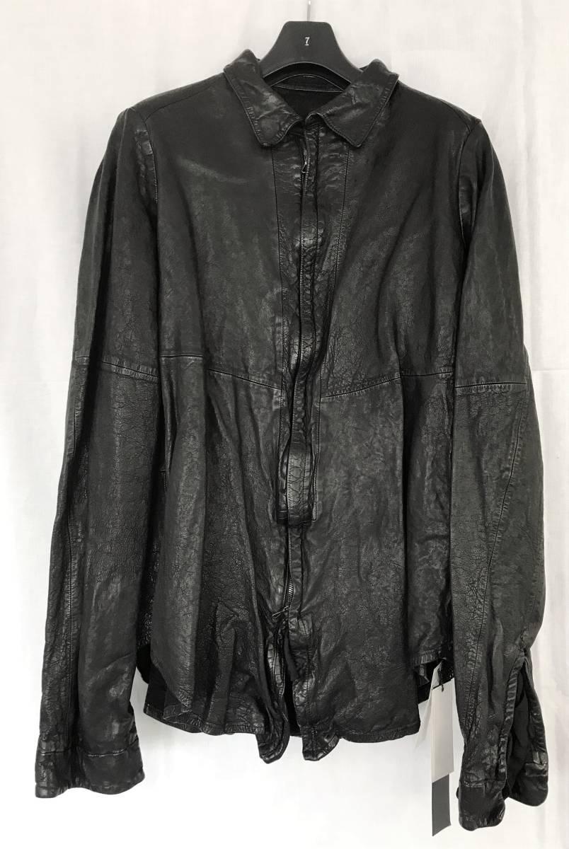 【新品未使用タグ付き】14AW 定価12.4万 1スタ JULIUS ユリウス レザーシャツジャケット サイズ3 477SHM7 BLACK