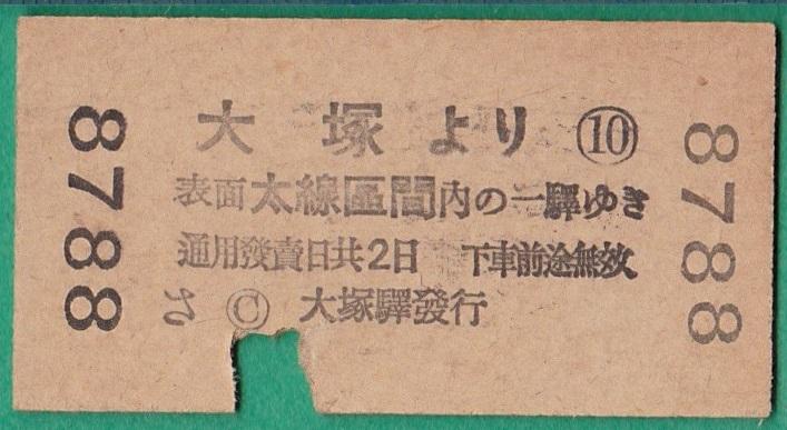 戦前鉄道硬券切符313■地図式乗車券 大塚より 10銭 15-2.22_画像2