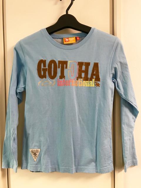 ガッチャ ガッチャキッズ GOTCHA KIDS ロゴ刺繍ロゴプリント ロンT ロングTシャツ 長袖 150cm 水色 ブルー_画像1