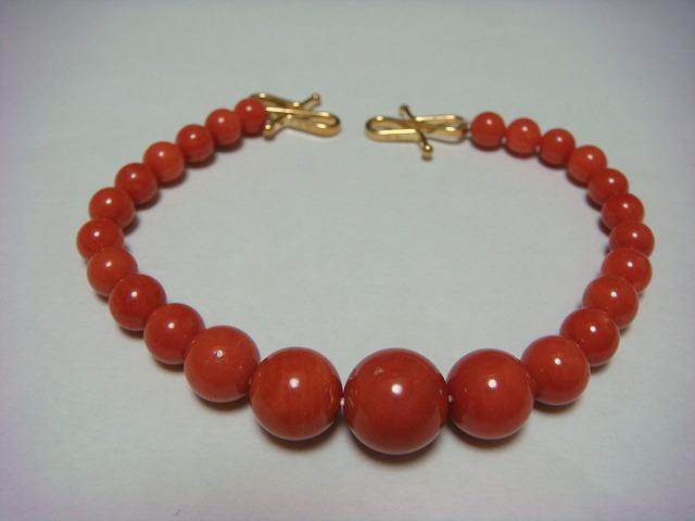 ◇大きな本赤珊瑚 サンゴ玉 約10mm 羽織紐 K18製◇