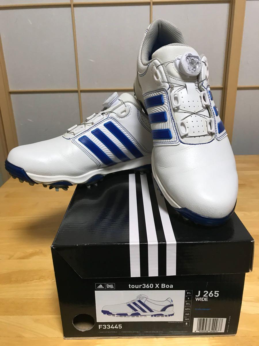 送料無料! アディダス メンズ ゴルフシューズ ツアー360 X boa F33445 26.5 ホワイト ブルー 中古品