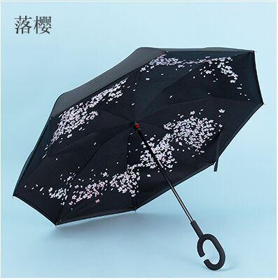 落桜 逆さ傘 UVカット 晴雨兼用 長傘 逆折り式傘 手離れC型手元 耐風傘 撥水加工