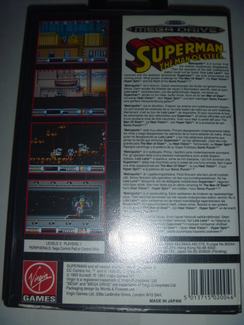 海外 欧州MEGA DRIVE Superman The Man of Steel - Virgin Games スーパーマン_画像2