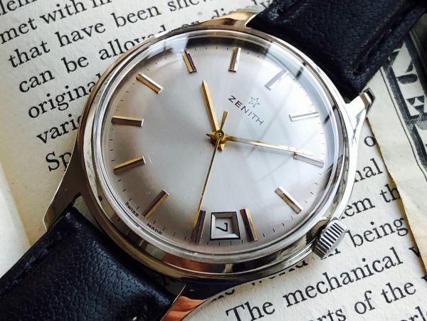 【美品激レア!!】ZENITH ゼニス シルバー文字盤 デイト カレンダー クールなアンティーク腕時計 手巻 【OH済】