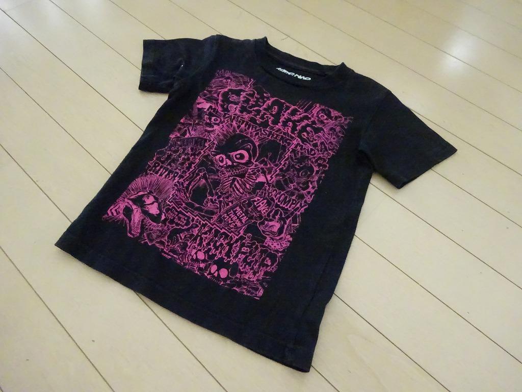 FLAKEフレイク 黒×プリント Tシャツ110 (z3