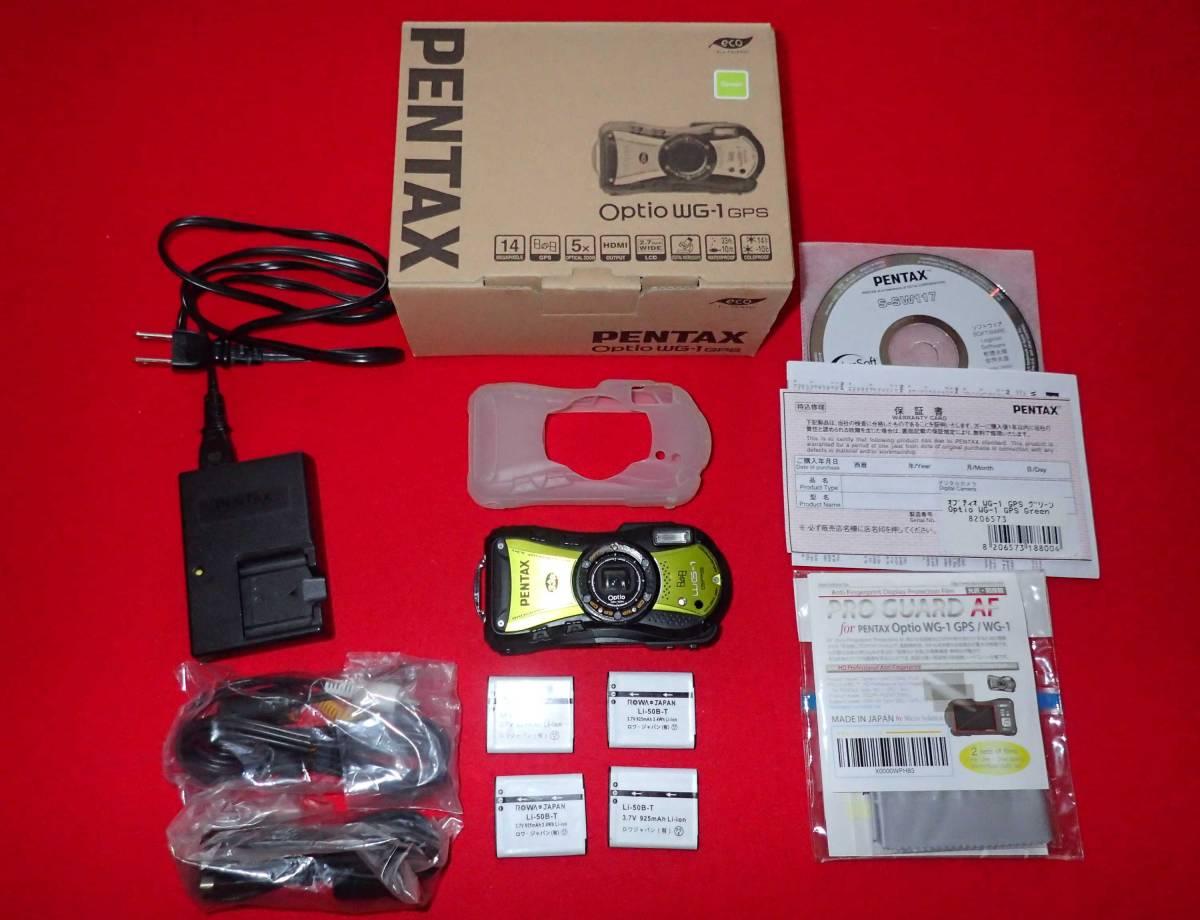 【中古】PENTAX RICOH ペンタックス リコー Optio WG-1 GPS グリーン +ジャケット付き
