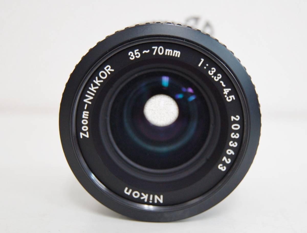 Nikon F3 ブラックボディ カメラ Zoom-NIKKOR 35-70mm 1:3.3-4.5 レンズ ニコン 一眼レフカメラ セット カバー付き ジャンク 1円から_画像3
