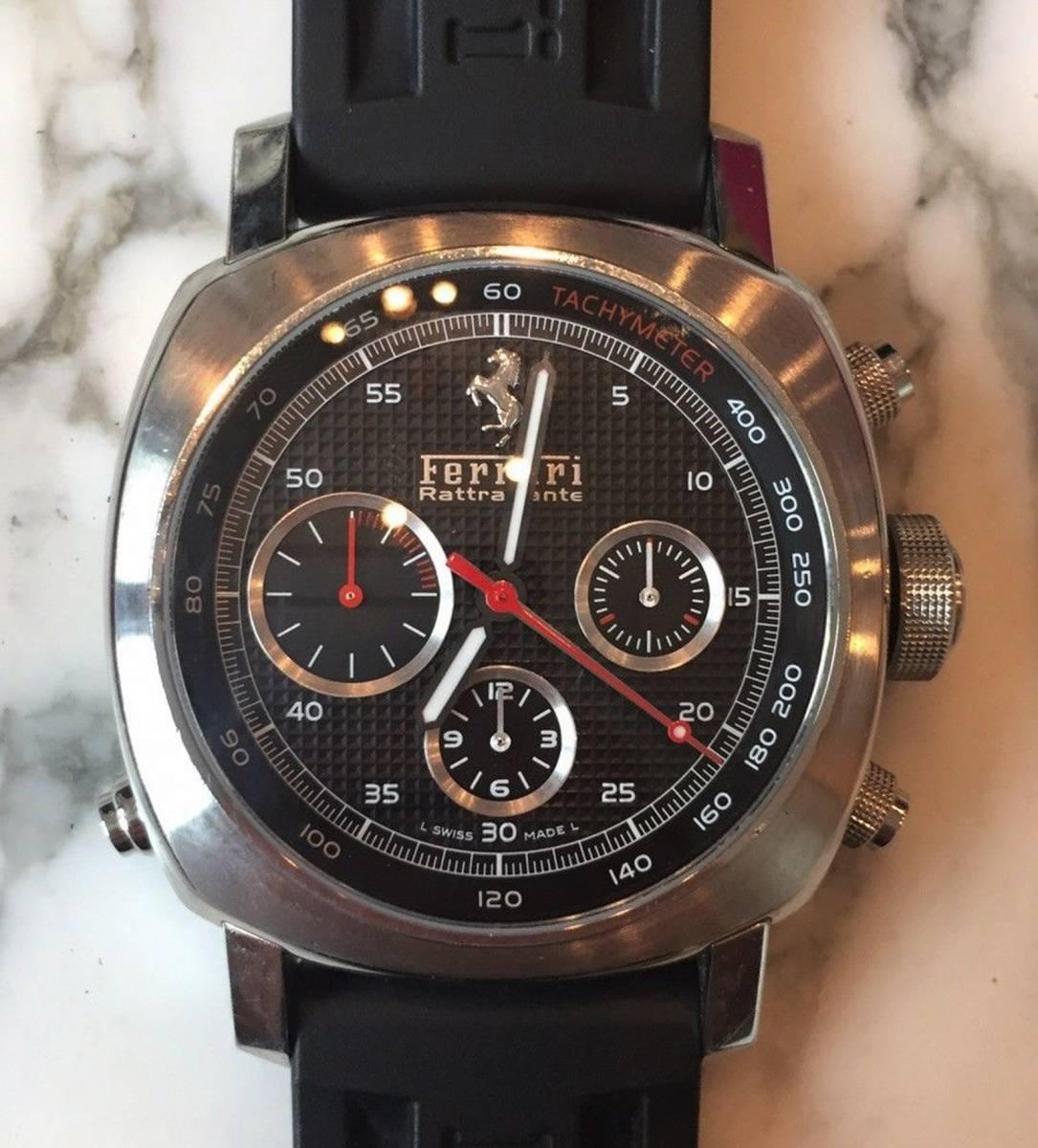 本物 150万円 PANERAI パネライ フェラーリ・グラントゥーリズモ・ラトラパンテ自動巻きFER00005 メンズ腕時計【2回のみ使用の極美品】