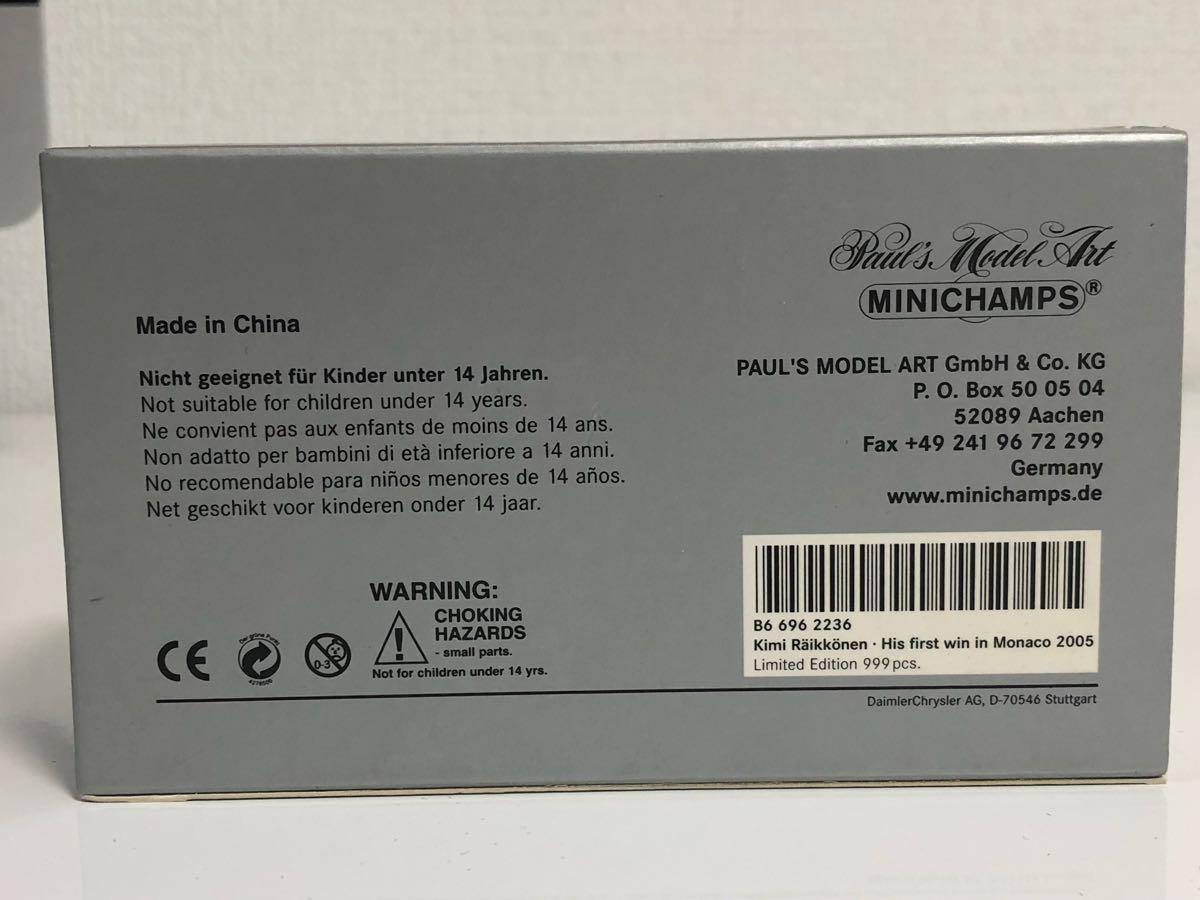 1/43 ミニチャンプス マクラーレン MP4-20 ライコネン タバコ仕様 モナコGP ベンツ別注_画像7