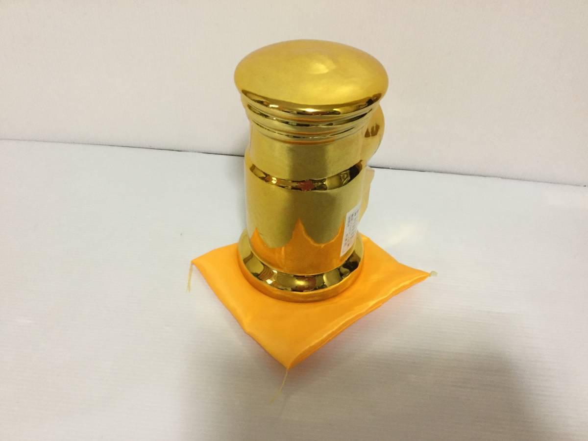 ゆうちょの貯金箱 非売品 金色 金運に恵まれる貴重な金色の貯金箱 未使用品 自宅保管品 高さ約18cm 横約11cm_画像3