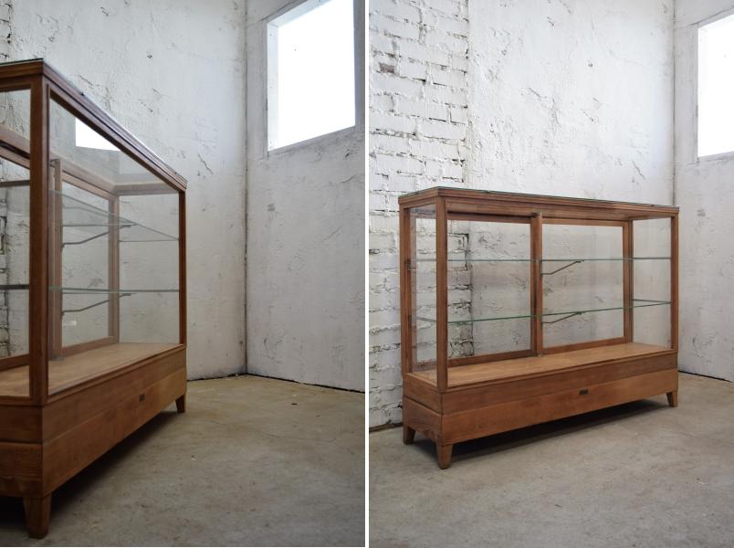 古い楢材の引出し付きガラスケース アンティークカウンターガラスケースショーケースアトリエカフェ店舗什器