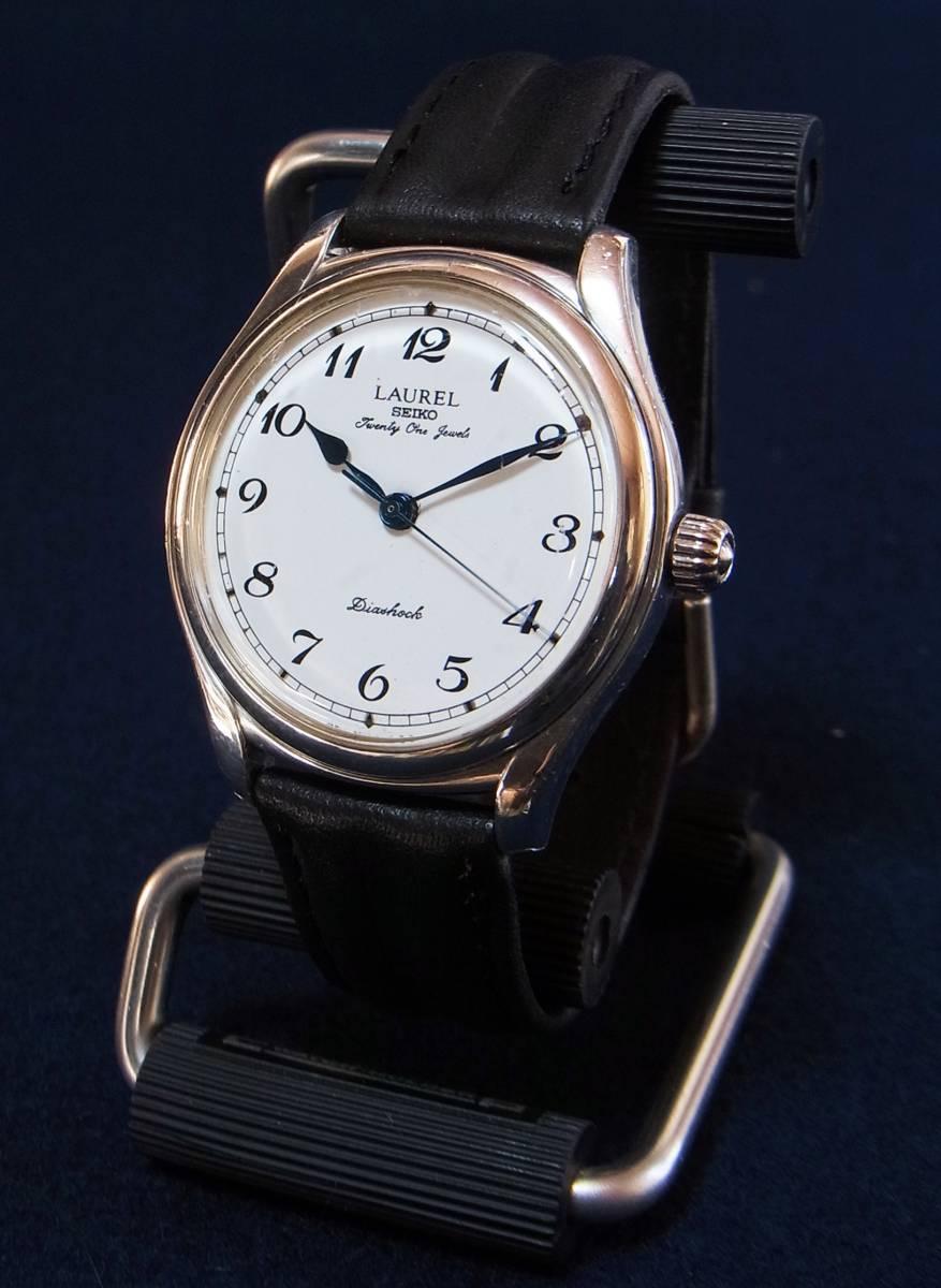 セイコー ローレル LAUREL 21石 手巻腕時計[4S24-0040] 銀製ケース ホーロー文字盤 1996