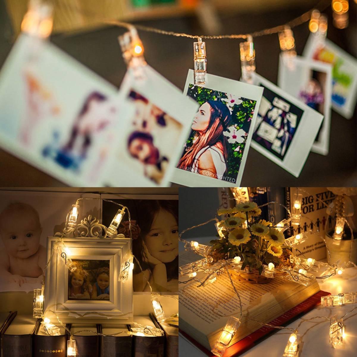 きらきら飴色 光るクリップガーランド カードクリップ LEDライト 写真立て パーティー 結婚式 誕生日 記念日に_画像1
