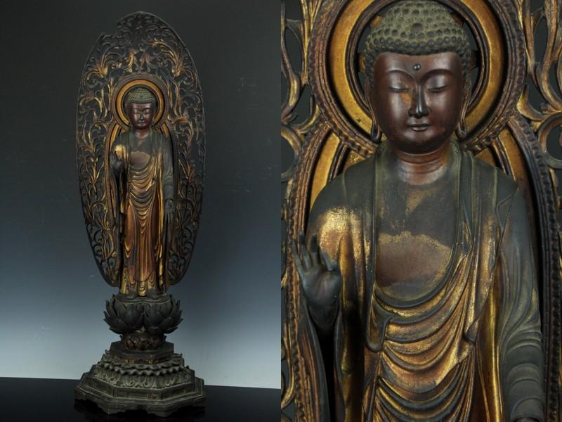 優品 木造阿弥陀如来立像 玉眼 透光背 高78cm 南北朝-室町期 仏教美術 JAN226