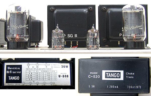 管球式ステレオ・パワーアンプ 真空管 6L6GC TANGO U-808 C-520 ジャンク品_画像6