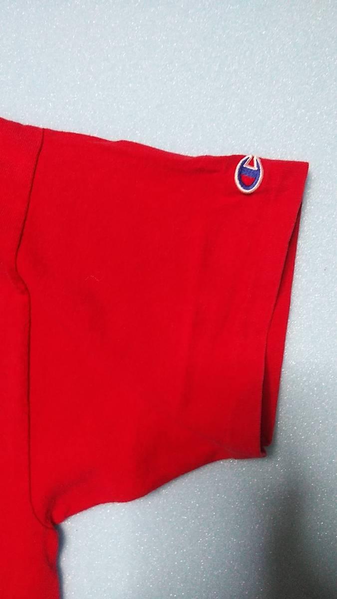 アメリカ古着80年代ChampionチャンピオントリコタグビンテージプリントTシャツ コットン100% サイズXL アメリカ製 赤 レッド_画像3