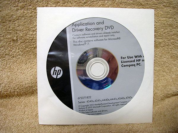 HP original recovery disk Application and Driver Recovery