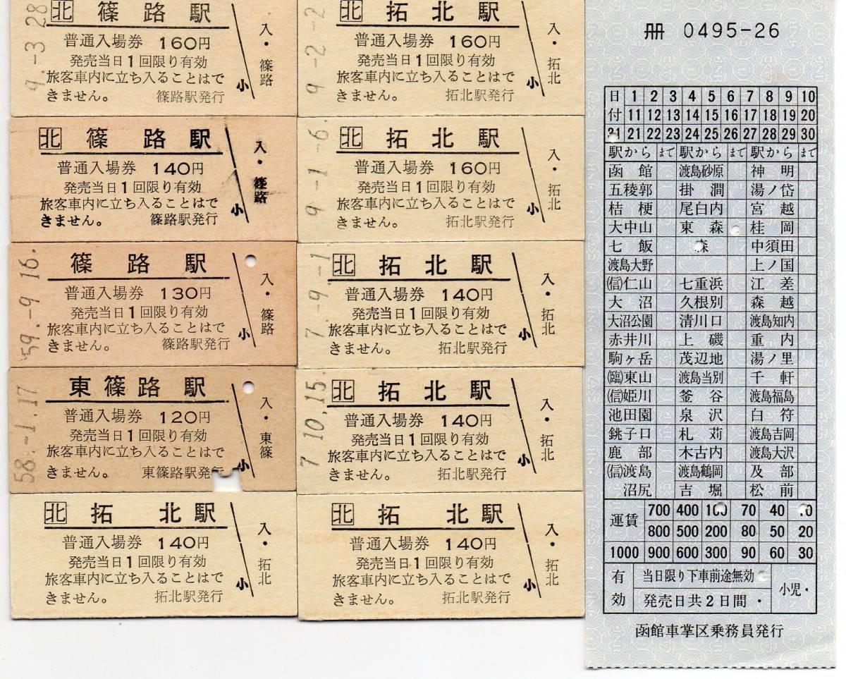 国鉄&JR札沼線 篠路駅&拓北駅 B型硬券入場券10枚+車内補充券セット