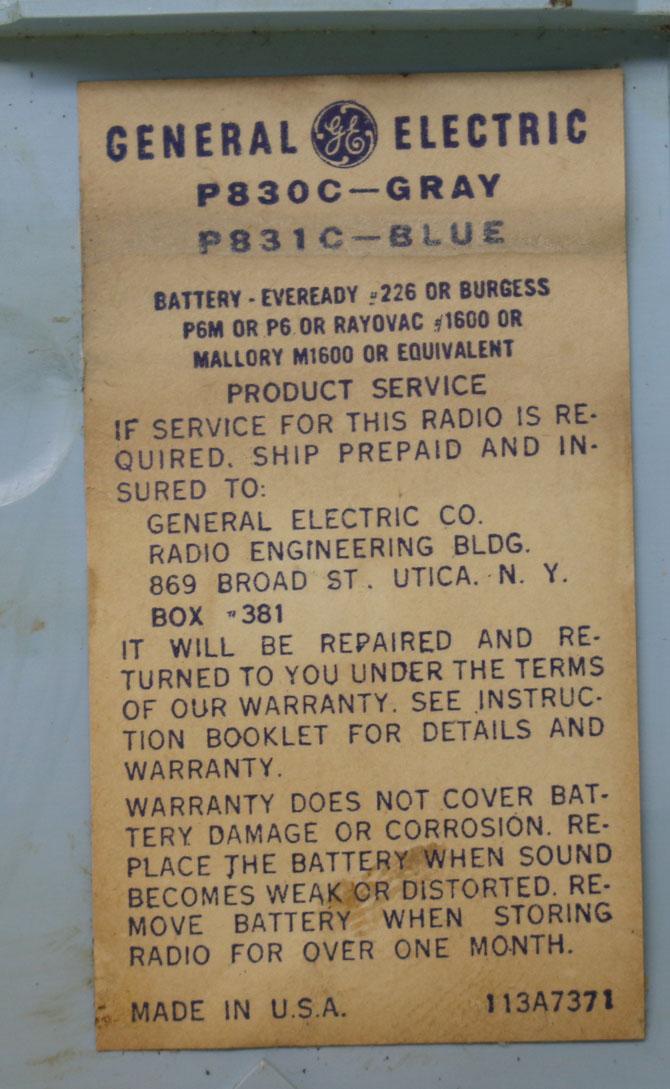 ◆◆1950-60年代/GENERAL ELECTRIC P831C-BLUE/トランジスターラジオ/GE社/6TRANSISTOR/MADE IN U.S.A./as is/オリジナルケース付き_画像9