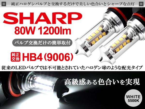 100系 前期/中期/後期 ランドクルーザー/ランクル LED フォグランプ HB4 80W SHARP ハロゲンスタイル 5500K ホワイト 車検対応 純正交換☆