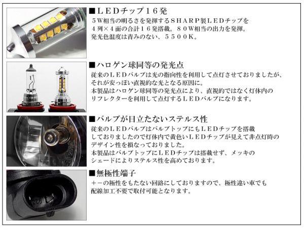 100系 前期/中期/後期 ランドクルーザー/ランクル LED フォグランプ HB4 80W SHARP ハロゲンスタイル 5500K ホワイト 車検対応 純正交換☆_画像3
