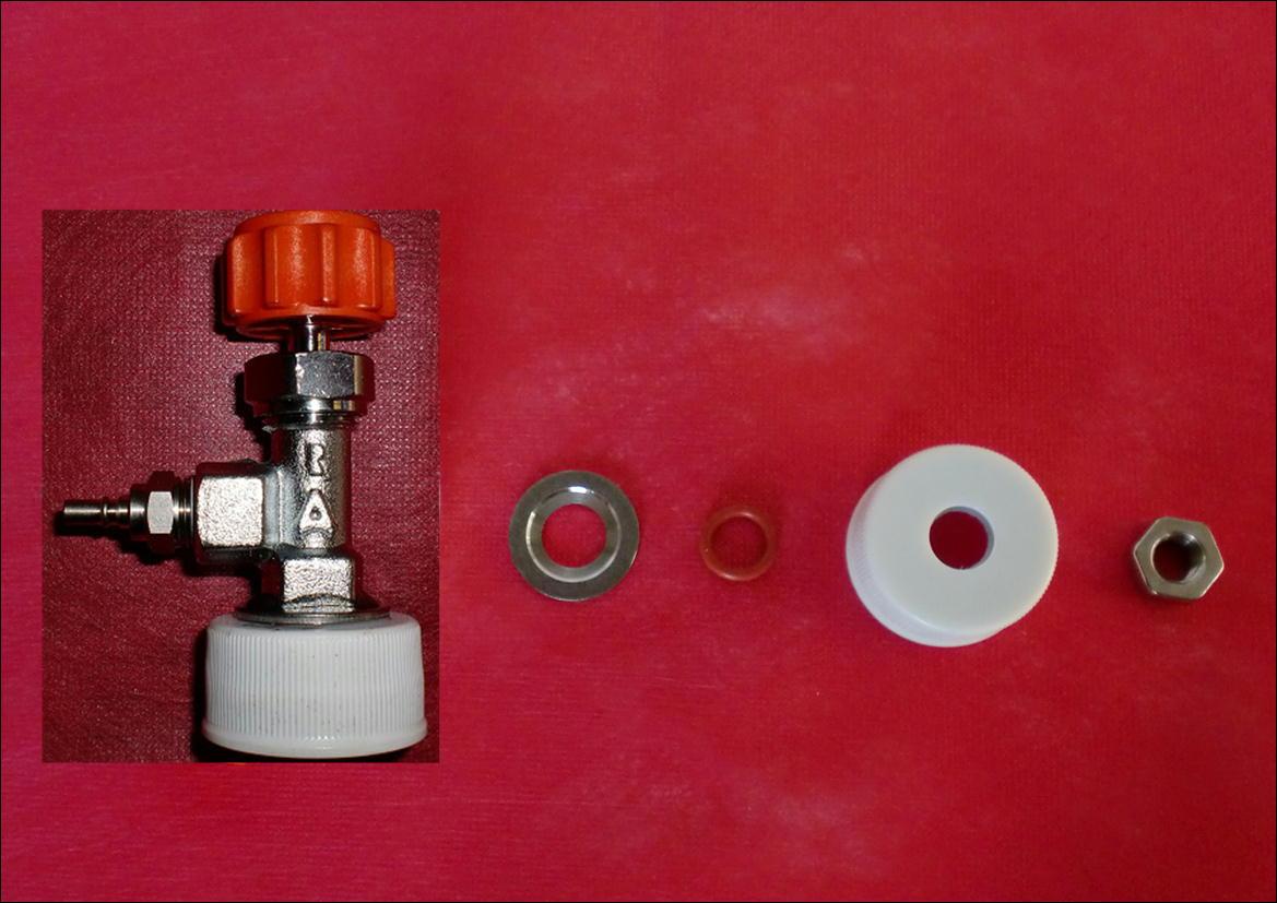 ミドボン用炭酸水製造キット(1L=5円で作れます)濃厚強炭酸水ソーダ⑬_キャップ付バルブの分解部品