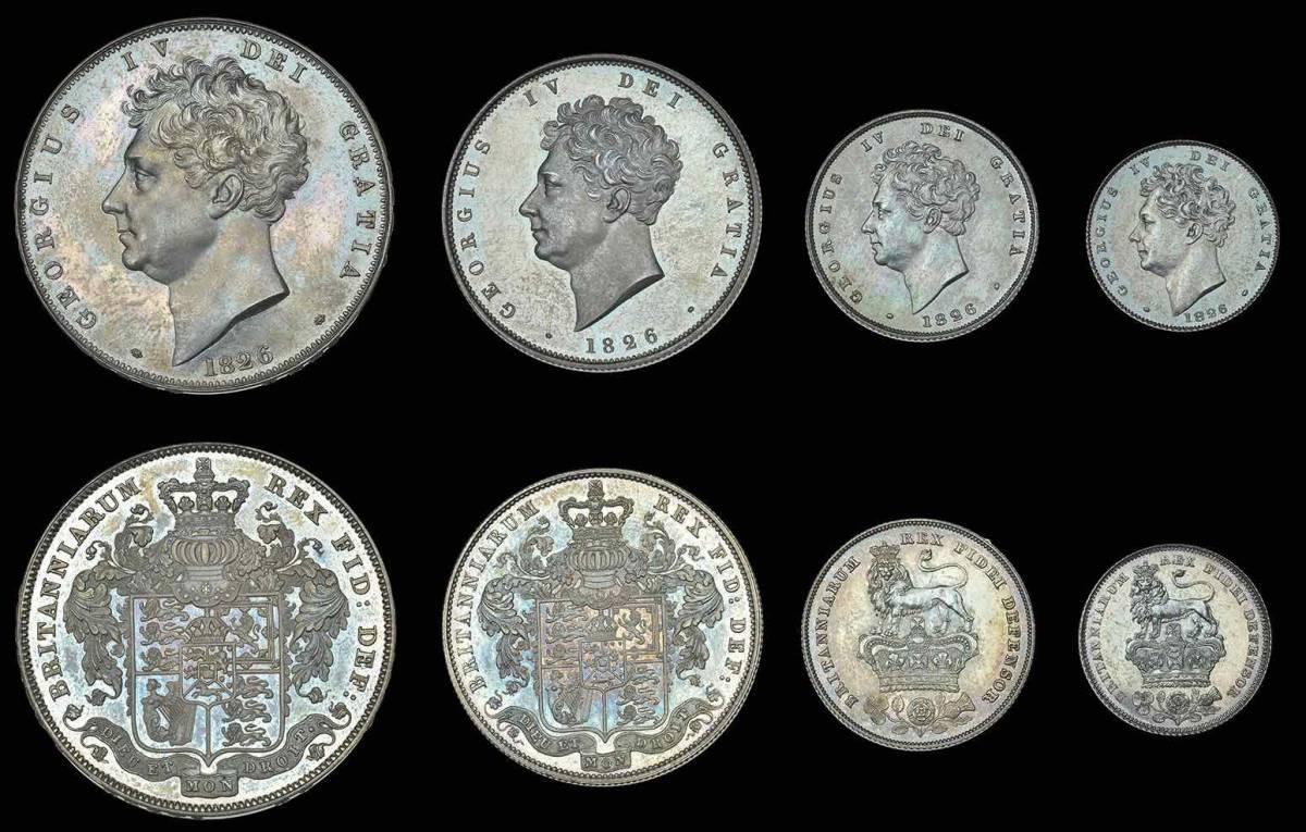 80年ぶり 1826年 英国 ジョージ4世 8枚プルーフ金貨&銀貨セット_画像2