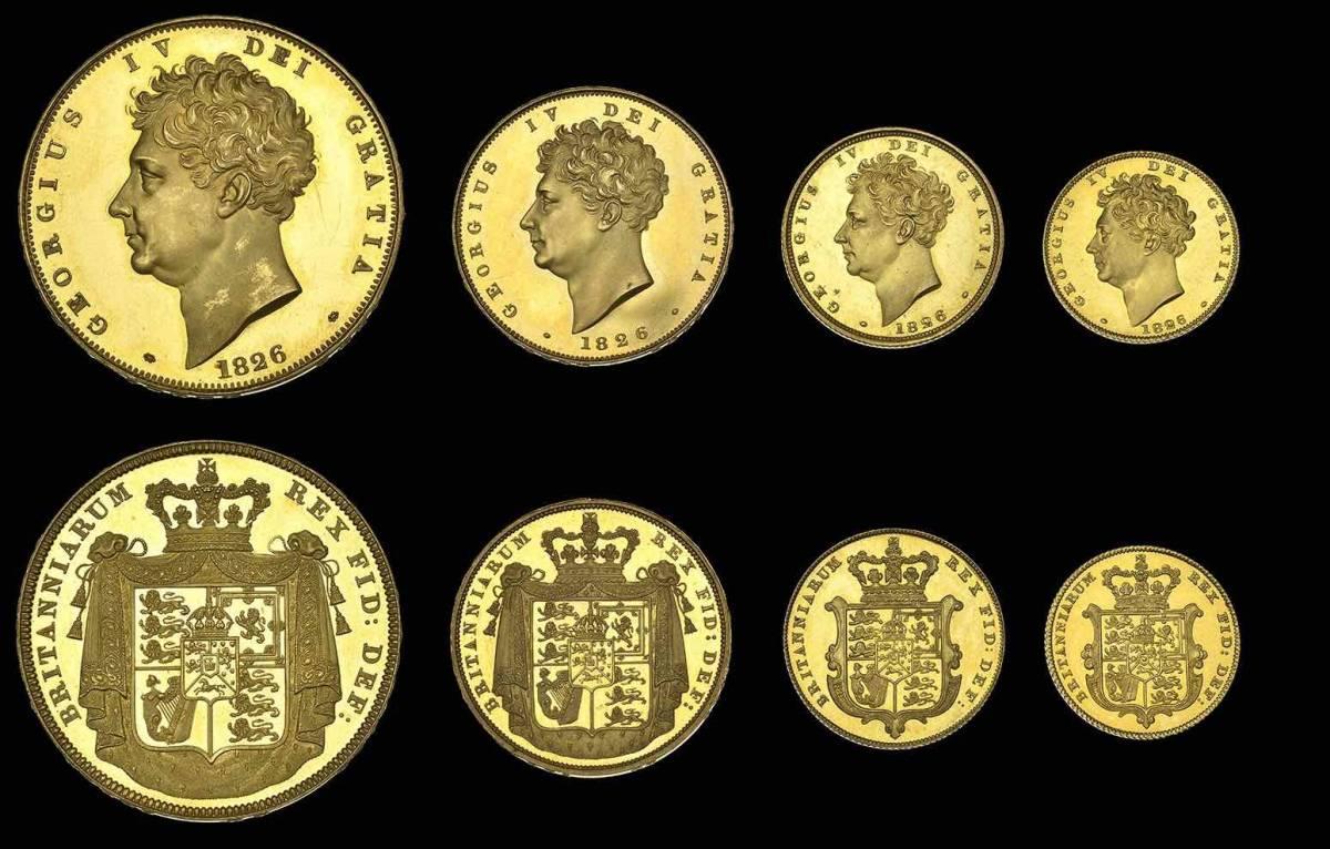 80年ぶり 1826年 英国 ジョージ4世 8枚プルーフ金貨&銀貨セット_画像1