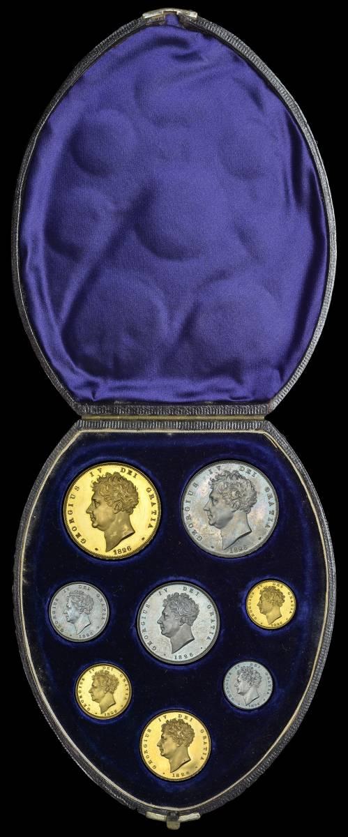 80年ぶり 1826年 英国 ジョージ4世 8枚プルーフ金貨&銀貨セット_画像3
