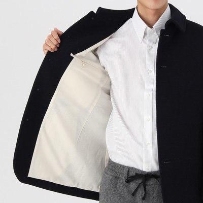 定価1.5万 即決 新品 MUJI 無印良品 フレンチウール混メルトンジャケット アウター コート ダークネイビー Mサイズ メンズ 紳士 仏産ウール_画像6