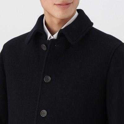 定価1.5万 即決 新品 MUJI 無印良品 フレンチウール混メルトンジャケット アウター コート ダークネイビー Mサイズ メンズ 紳士 仏産ウール_画像4