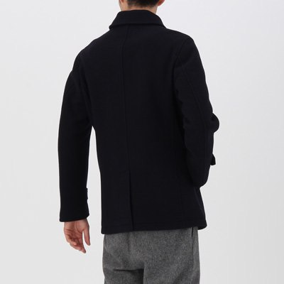 定価1.5万 即決 新品 MUJI 無印良品 フレンチウール混メルトンジャケット アウター コート ダークネイビー Mサイズ メンズ 紳士 仏産ウール_画像3