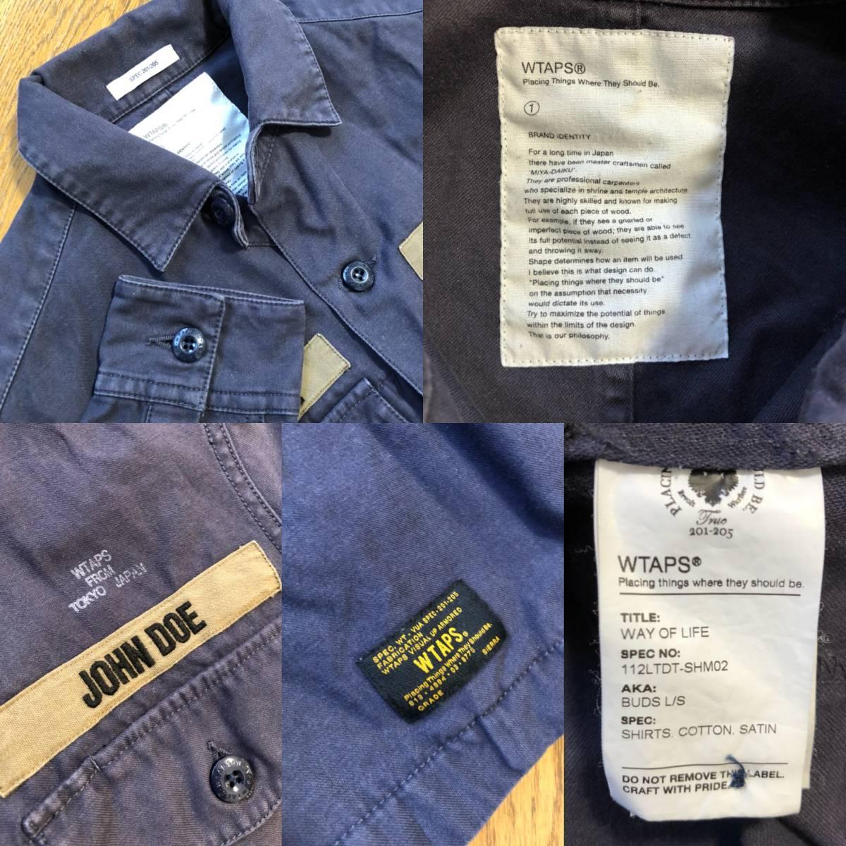 名作☆[wtaps] 11AW BUDS L/S ヴィンテージ加工ミリタリーシャツ 1 ダブルタップス_画像3