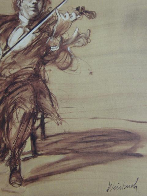 クロード・ワイズバッシュ、【バイオリニスト】、貴重な画集画、新品高級額・額装付、状態良好、送料無料、洋画_画像2